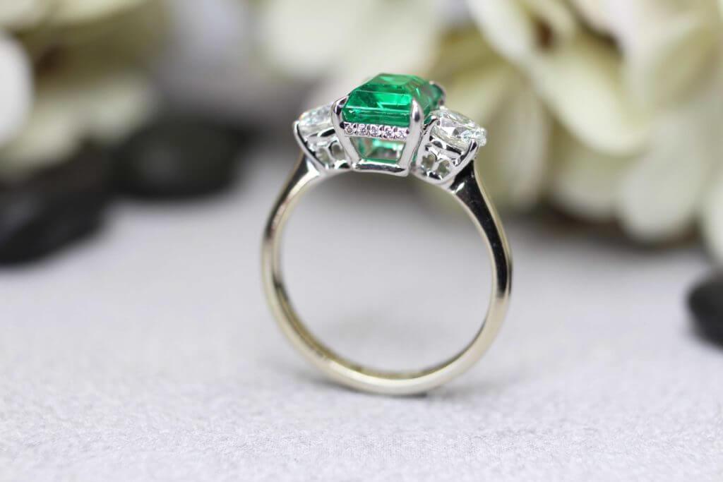 Heirloom Emerald Triology Diamond Ring Side, customised heirloom jewellery from existing vintage jewellery | Local Singapore Jewellery in customised jewellery