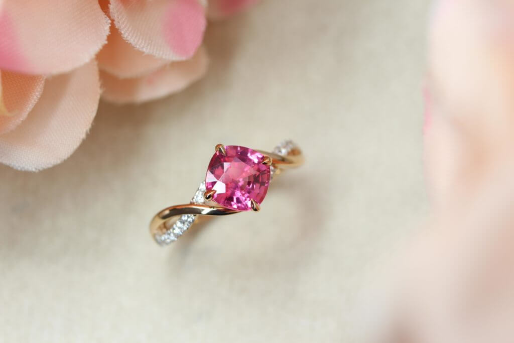 Customised Pink coloured gemstone Spinel Proposal Ring, customised a unique ring for wedding proposal - vivid Pink coloured Spinel gemstone customised for the couple | Local Singapore Jeweller in custom made wedding jewellery.