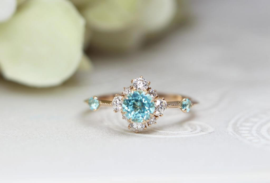 Paraiba Tourmaline Diamond Engagement Ring for Proposal, unique vivid coloured gemstone customised for engagement ring | Local Singapore Custom made jewellery in wedding jewellery
