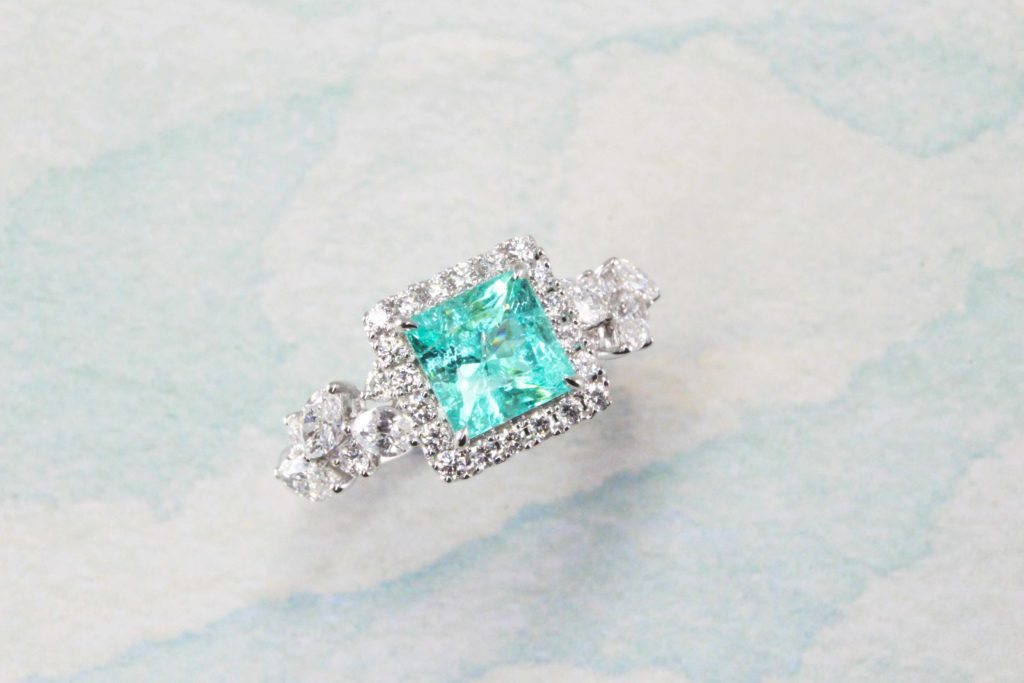 Paraiba Tourmaline coloured gemstone customised with Marquise Diamond Ring | Local singapore Jeweller in customised paraiba tourmaline gemstone jewellery