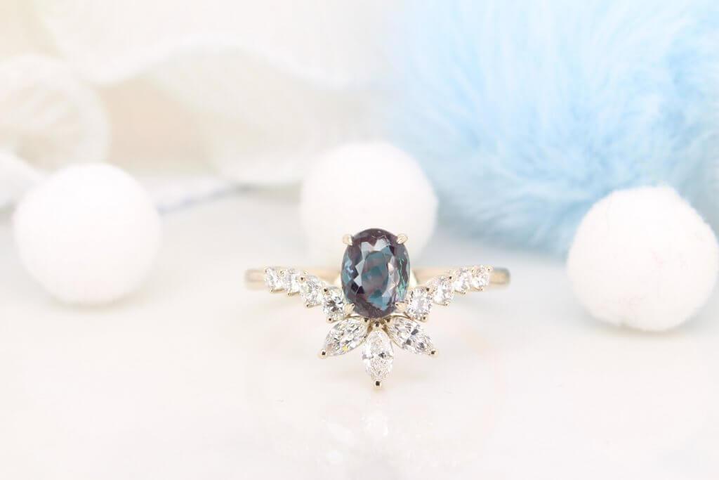 Alexandrite Colour Change Engagement Ring