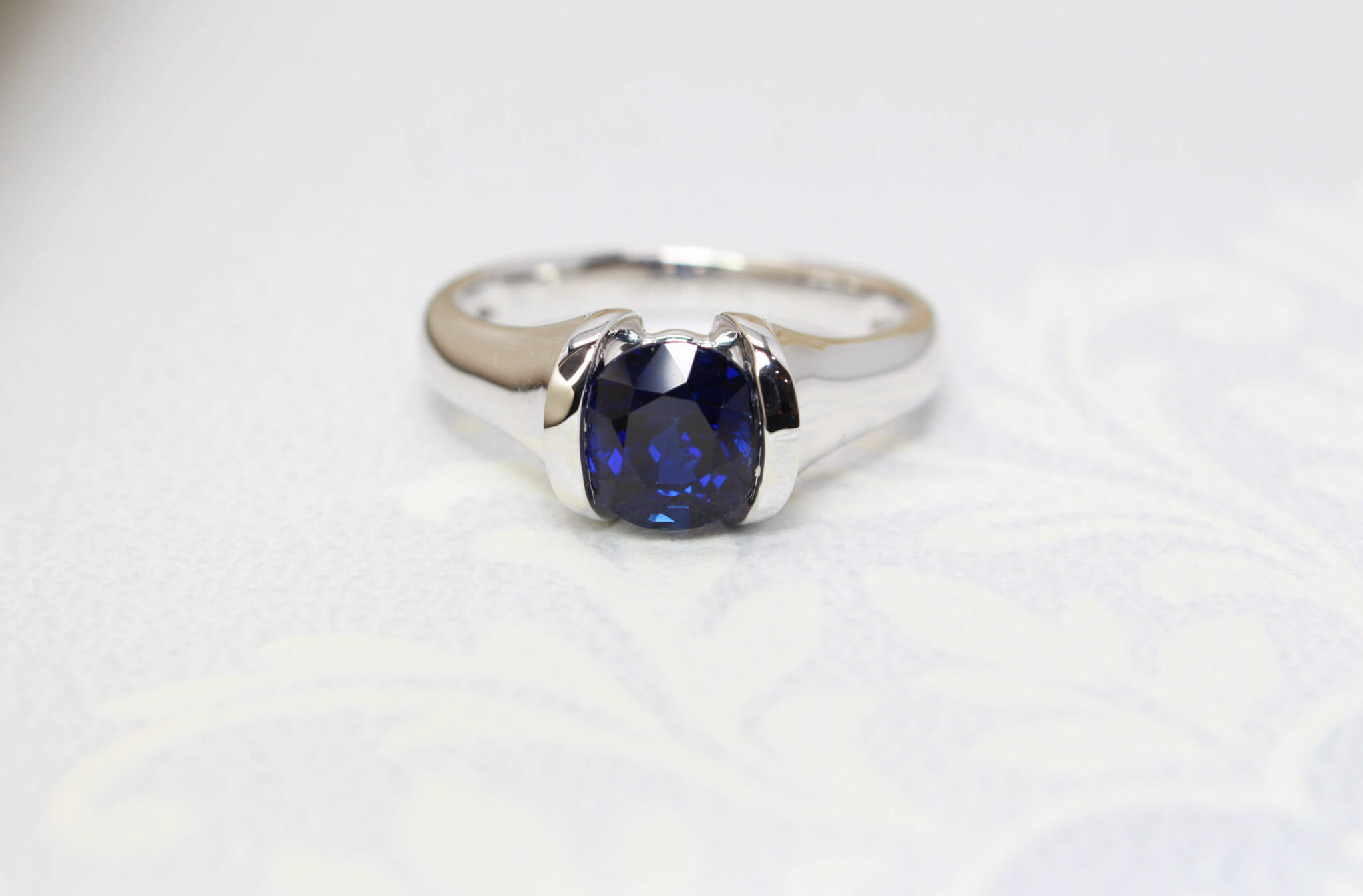Burma Blue Sapphire Gemstone, rare deep royal blue sapphire gemstone unheated without heat treatment - bespoke Gemstone Jewellery custom set in white gold in half bezel setting | Local Singapore bespoke jewellery in Natural Coloured Gemstone Jewellery