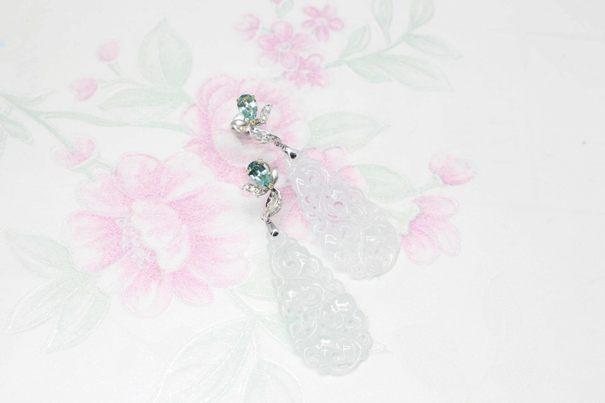 Green Tourmaline Gemstone with Jade Dangle Earring dressing up for Chinese New Year celebration - Customised Chinese Oriental jewellery for Chinese New Year celebration | Local Singapore customised with gemstone and jade