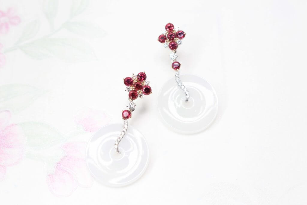 Red Spinel Cluster Gemstone with Jade Dangle Earring - Customised oriental fine jewellery for Chinese New Year | Customised Jewellery, local Singapore designer Jewellery in fine jewellery with coloured gemstone and jade.