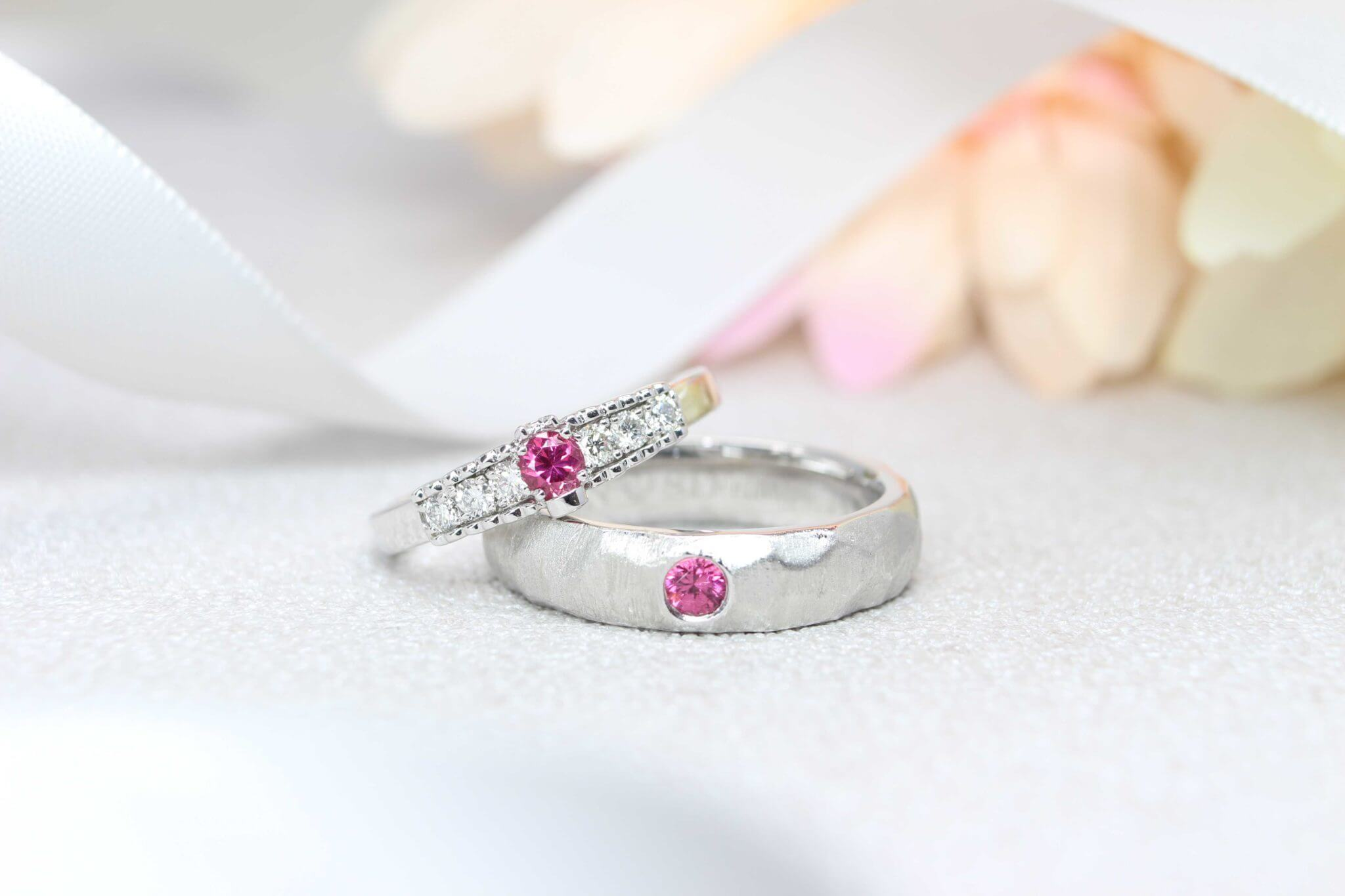 Platinum with Pink Spinel coloured gemstone Wedding Bands