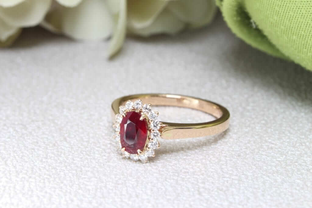 Vivid Red Ruby Gemstone Ring - Ruby gemstone source directly from Mozambique to Burma, known for its quality and high saturated colour. Singapore Customised Jeweller in heated and unheated ruby gemstone jewellery and ring for wedding jewellery and engagement ring