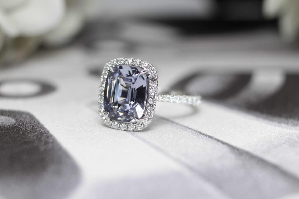 Lavender Violet cushion Spinel, Coloured Gemstone customised with halo round brilliant diamond Ring Customised Jeweller - Singapore   Local Jewellery in bespoke customization fine jewellery with coloured gemstone