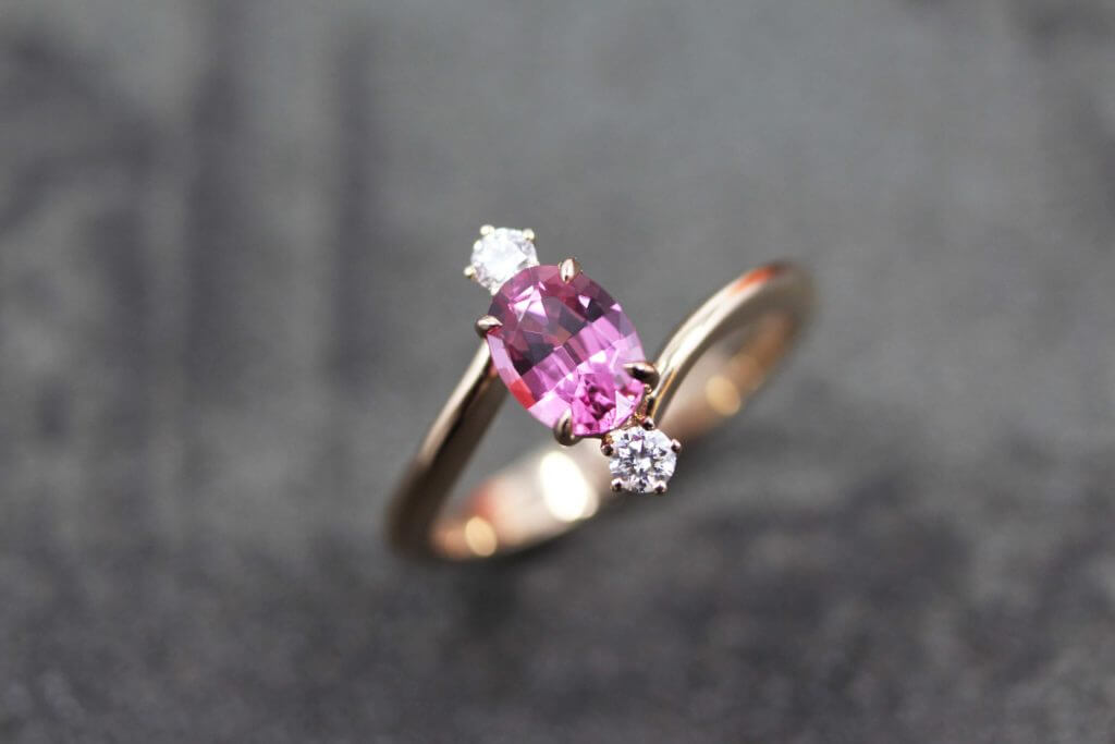 Pink Spinel Gemstone design from sketch and set with round brilliant diamond. Customised in rose gold 18k Engagement Ring for the wedding | Customised Jewellery for wedding proposal and wedding engagement ring in Singapore