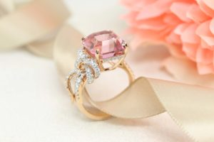 Pink Tourmaline Gemstone in unique Asscher Shape customised in (750) 18k rose gold Unique Ribbon Ring with round brilliant diamonds - Private Jeweller in Singapore on bespoke fine jewellery design