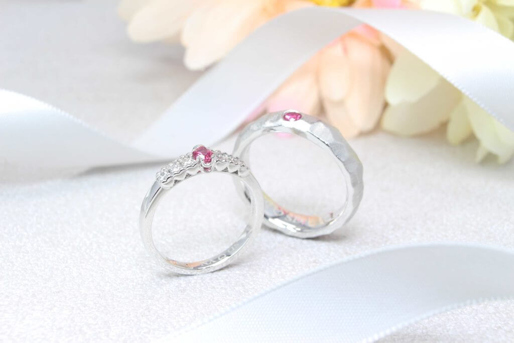 Wedding Bands custom set in Platinum with hot pink spinel gemstone and detailing in both the wedding bands | Local Singapore Bespoke jeweller in Wedding Jewellery and Wedding Rings - Designer Jewellery