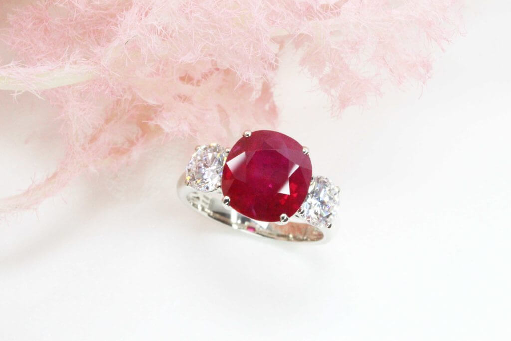 Burma Pigeon Blood Ruby, coloured gemstone; Customised in a trilogy, set with round brilliant diamonds. Heirloom fine jewellery with rare Burma ruby to keep for generations to come   Local Singapore private Jeweller in rare coloured gemstone