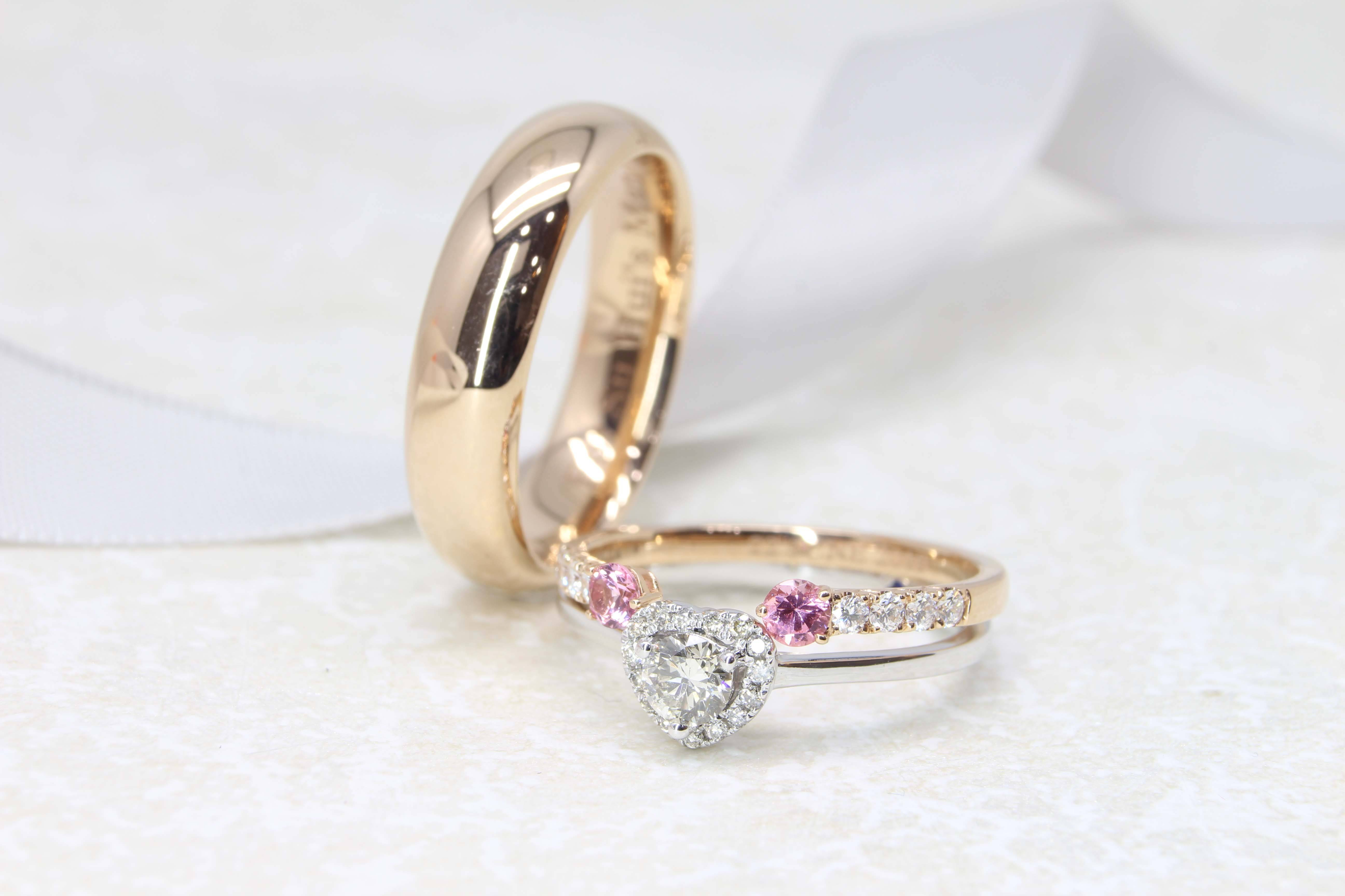Have your Wedding Bands & Engagement Ring customised to stack and complement to each other in design - Customised Wedding Rings with coloured gemstones and diamond | Local Singapore Bespoke Jeweller in Wedding bands and Engagement Ring