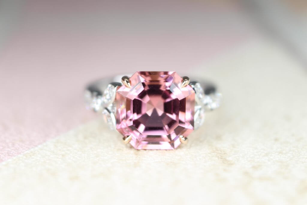 Customised ring custom set in asscher cut shape pink tourmaline gemstone set with rose gold band and round brilliant diamonds | Local Singapore Jeweller in customised jewellery and natural coloured gemstone.