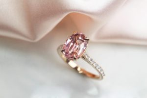 Pink Tourmaline gemstone customised for a engagement ring for wedding Proposal - custom Wedding Ring with oval pink tourmaline gemstone in Singapore | Tanjong Pagar Wedding Ring Private Jeweller in customised jewellery