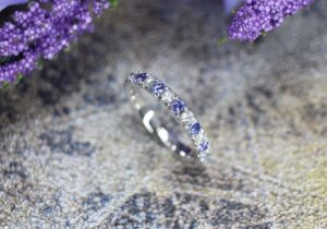 Tanzanite Gemstone with bluish violet colour shade customised with Diamond Eternity bands, requested by the mother to custom made with her daughter's birthstone tanzanite in December | Local Singapore customised jewellery in bespoke jewellery and coloured birthstone gemstone.