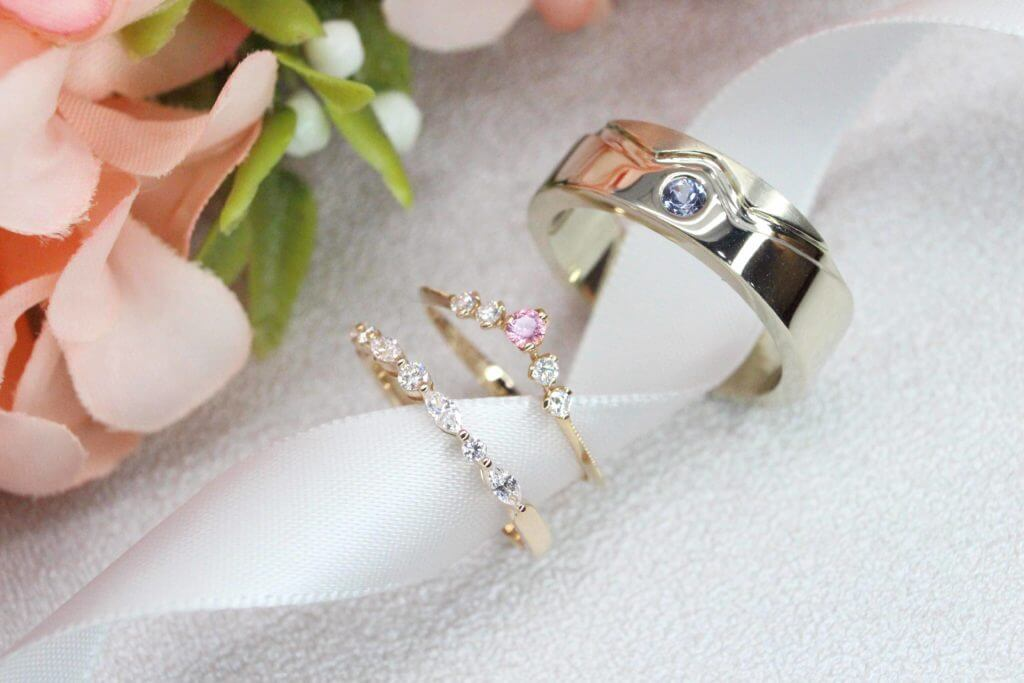 Customised Wedding Rings, custom made for the ladies for proposal and thereafter designing the wedding bands from sketch to stack well with it - Proposal Ring for Engagement and Wedding Bands | Customised Wedding Jewellery Singapore