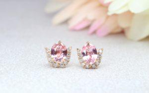 Customised earring with Padparadscha Sapphire gemstone, orangy pink colour gemstone - Customised Gemstone Jewellery   Local Singapore Designer Jeweller in fine jewelry with Padparadscha Sapphire gemstone
