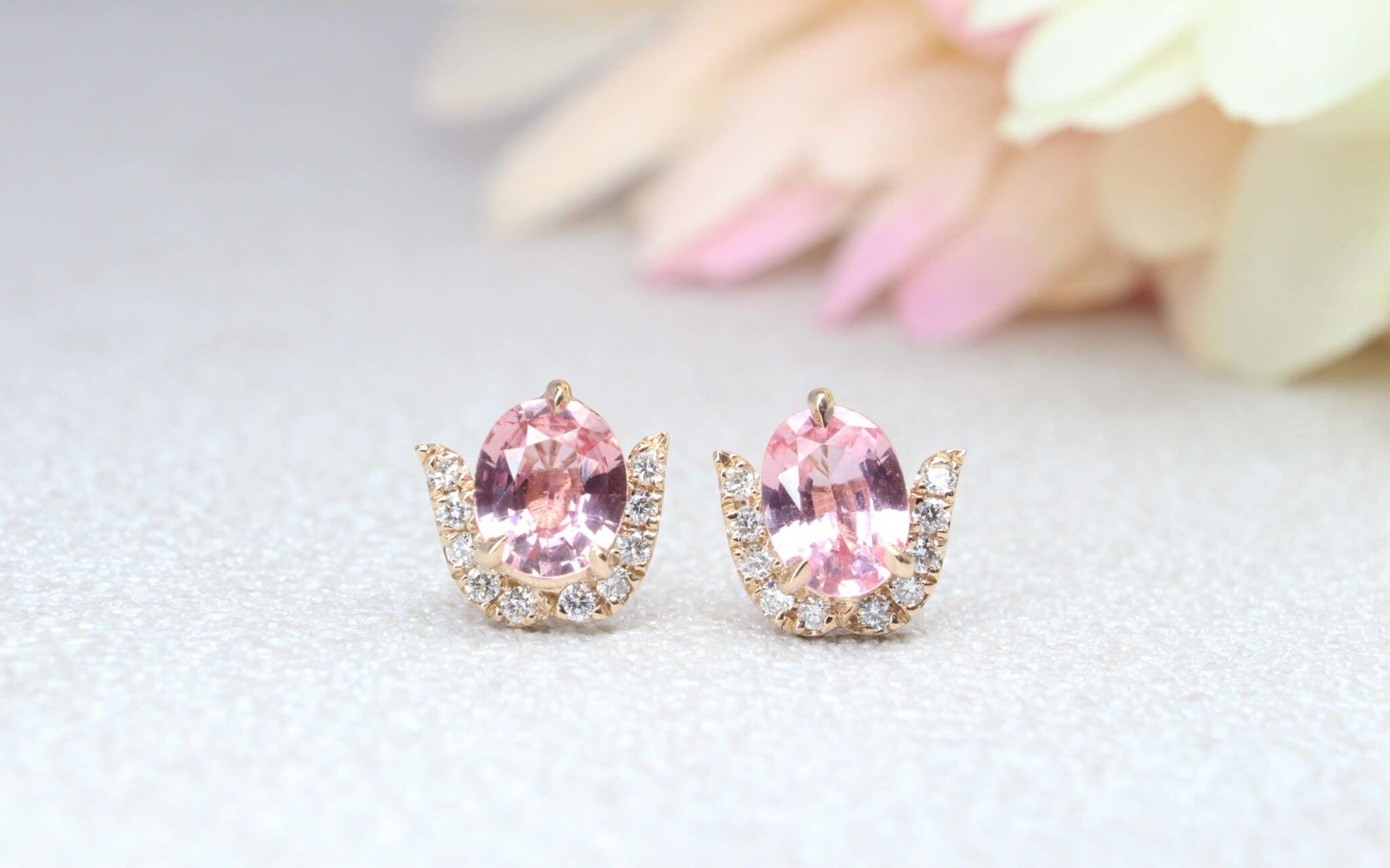 Customised earring with Padparadscha Sapphire gemstone, orangy pink colour gemstone - Customised Gemstone Jewellery | Local Singapore Designer Jeweller in fine jewelry with Padparadscha Sapphire gemstone