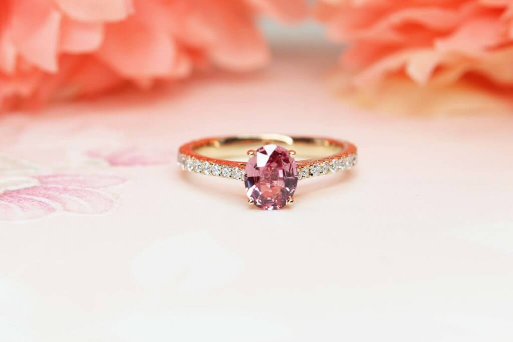 Padparadscha Sapphire Wedding Ring, customised unique design for wedding proposal - Customised Engagement Ring with orangy pink coloured gemstone, padparadscha sapphire | Local Singapore Jeweller in customised jewellery.