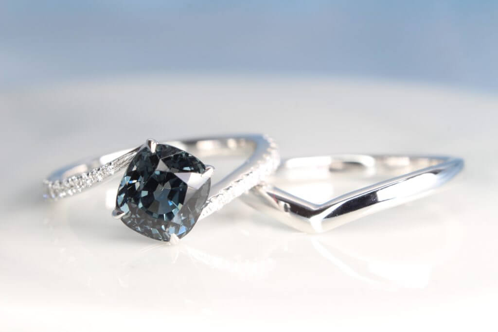 Bluish Grey Spinel Gemstone Wedding Engagement Ring