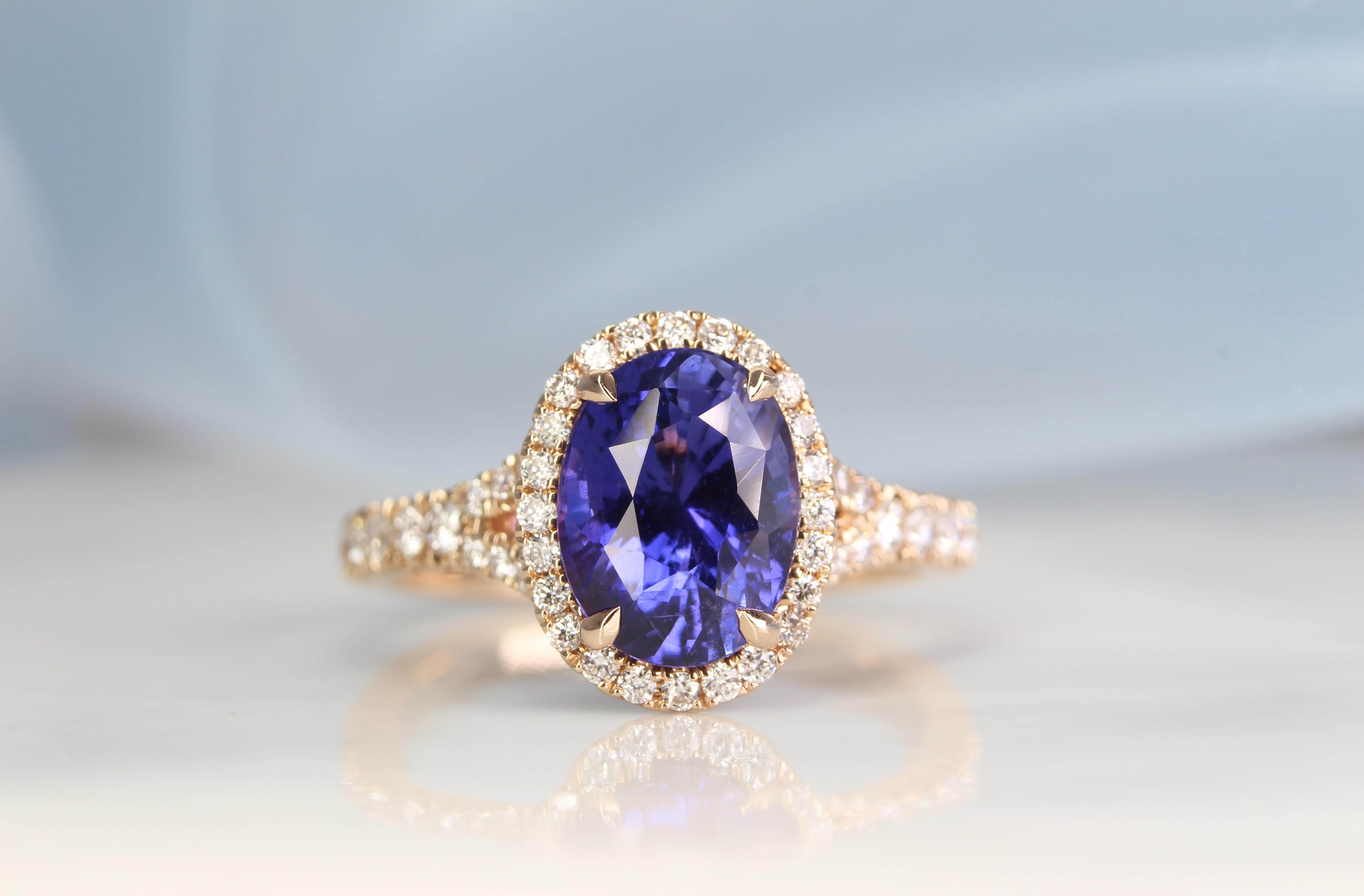 "Sapphire with Colour change without heat enhancement set with ""Y"" band and halo diamond ring. Unique push present gift, from a gentleman to show his appreciation to his wife for giving birth to their child 