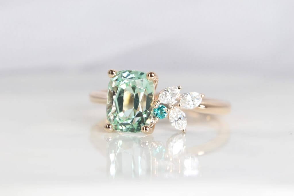 Green Tourmaline & Paraiba Tourmaline coloured gemstone customised with marquise diamond | Local Singapore Jeweller in bespoke fine jewellery with coloured gemstone, looking for an anniversary gift with personalised bespoke