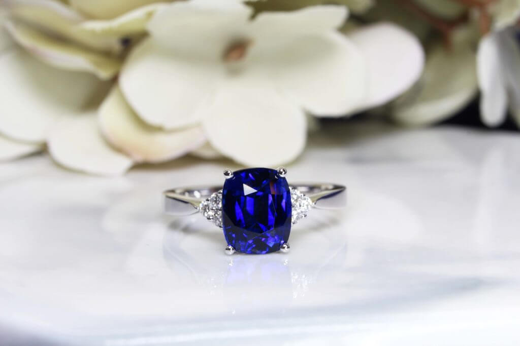 Royal Blue Sapphire vivid blue with a slight violet hue in it - Customised design featuring unique coloured gemstone gemstone | Local Singapore Private Jewellery in Customised Wedding Ring custom set with coloured gemstone.