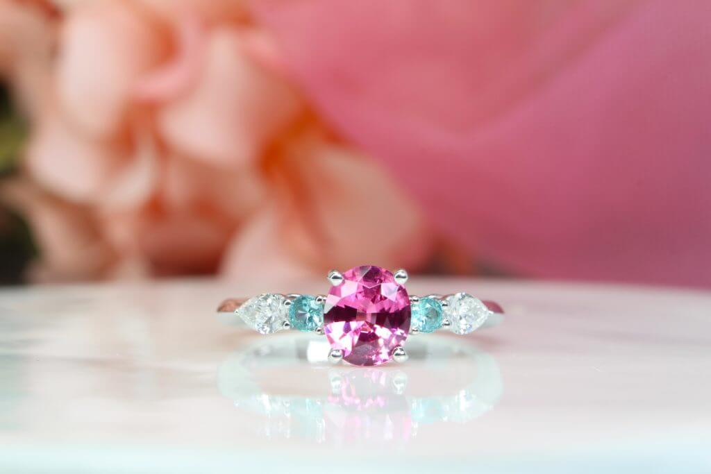 Pink Spinel with Paraiba Tourmaline Wedding Proposal Ring | Local Singapore Jeweller in bespoke wedding ring with pink spinel and coloured gemstone for Wedding Jewellery and Wedding Ring