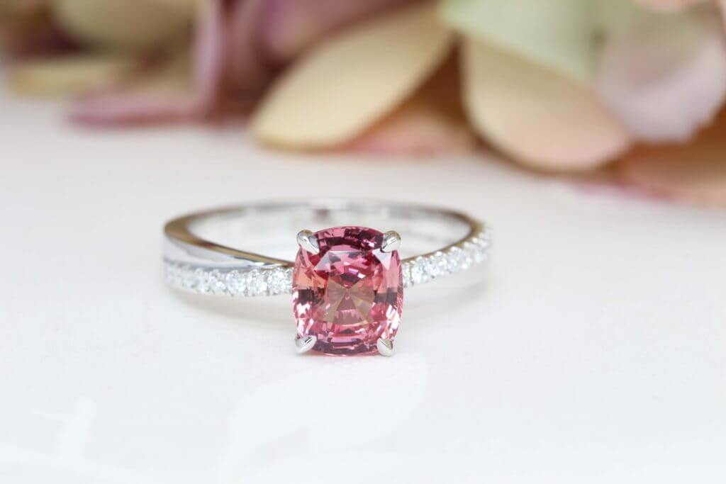 Padparadscha Sapphire Halo Diamond with twisted diamond bands