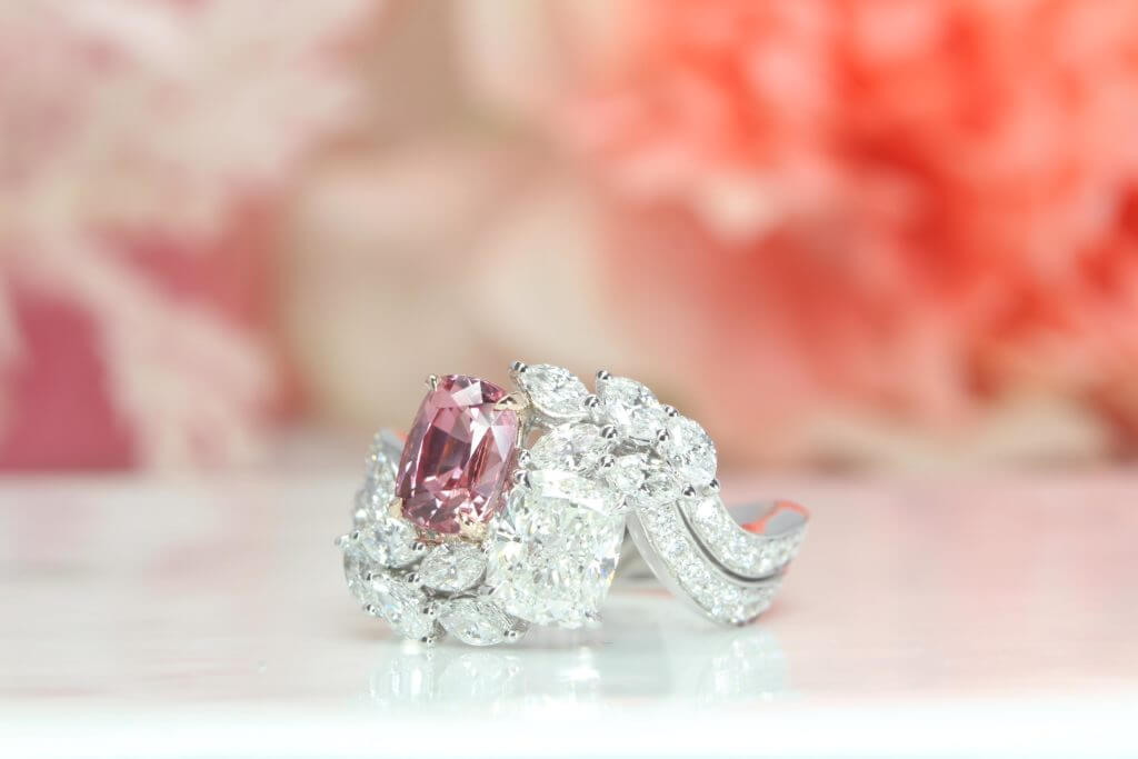 """Toi et Moi"" Ring, Sapphire Padparadscha with Cushion, Marquise, Round Brilliant Diamond - Unique Custom made ring for a perfect wedding 