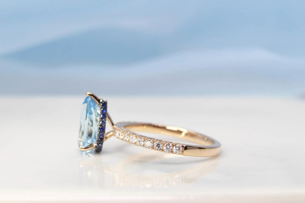 Aquamarine, Aquamarine gemstone, Pearl shape gemstone, customised jewellery, custom jewellery, beryl gemstone, local Jewellery, singapore jeweller,