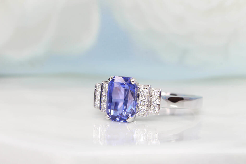 Art Deco Vintage Ring customised with unheated octagon sapphire and round brilliance diamond, customised unique vintage ring look in art deco design Local Singapore Custom Jeweller in Fine Jewellery with coloured gemstone and diamond jewellery
