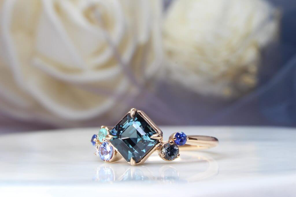 Cluster Ring with Bluish Green Teal Spinel, blue sapphire and Brazil Paraiba Tourmaline Gemstones in a cluster design for wedding Engagement ring - Customised Engagement Ring with coloured gemstone to a cluster design in rose gold band, local Singapore Custom Jeweller