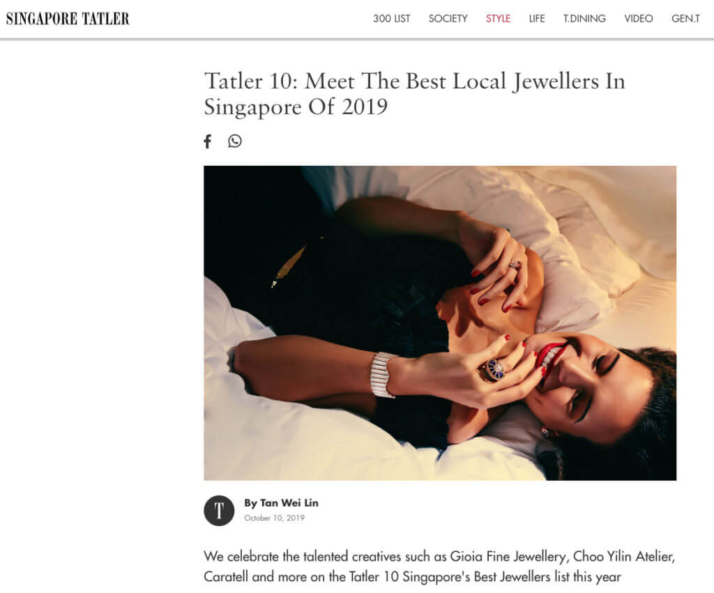 Singapore Tatler Top 10 Best Jeweller 2019 - GIOIA Fine Jewellery