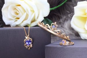 Fairytale Wedding Jewellery customised with the bride birthstone of Tanzanite in the month of December. Local Singapore Private Jeweller in Customised Wedding Jewellery with Necklace, Bangle and Ring unique crafted with fairytale story and gemstone jewellery.
