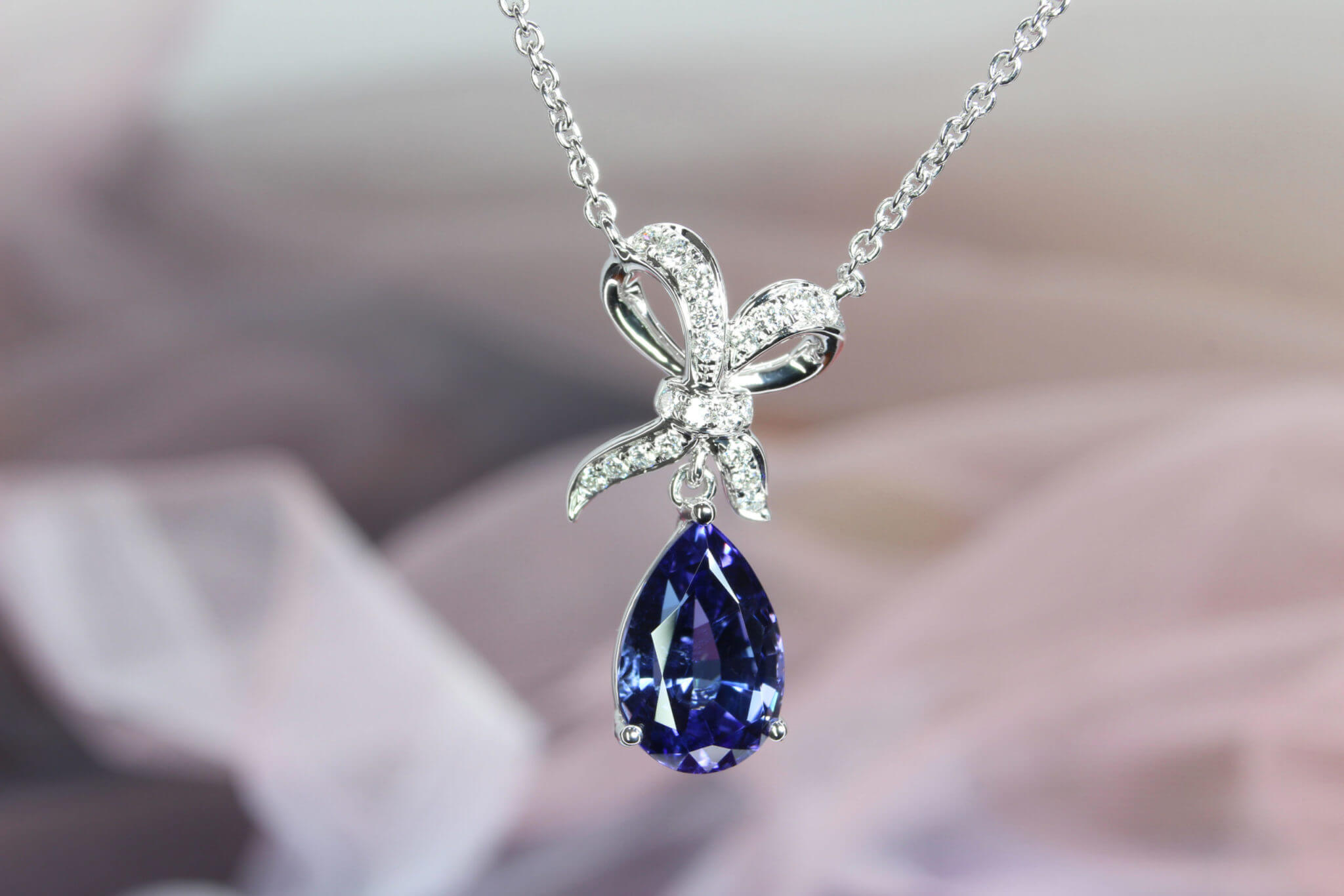 Tanzanite with Ribbon Diamond Pendant - Customised Jewellery