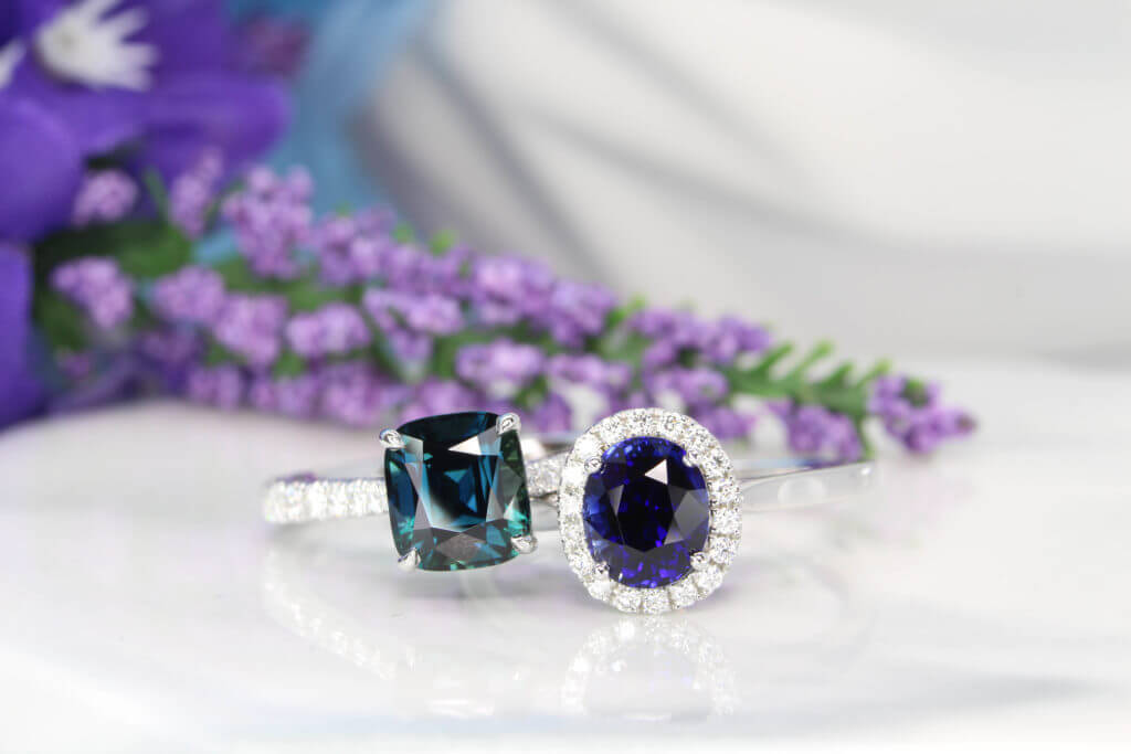 Modern Heirloom Jewellery customised with royal blue sapphire and teal sapphire make them a unique heirloom jewellery for generation