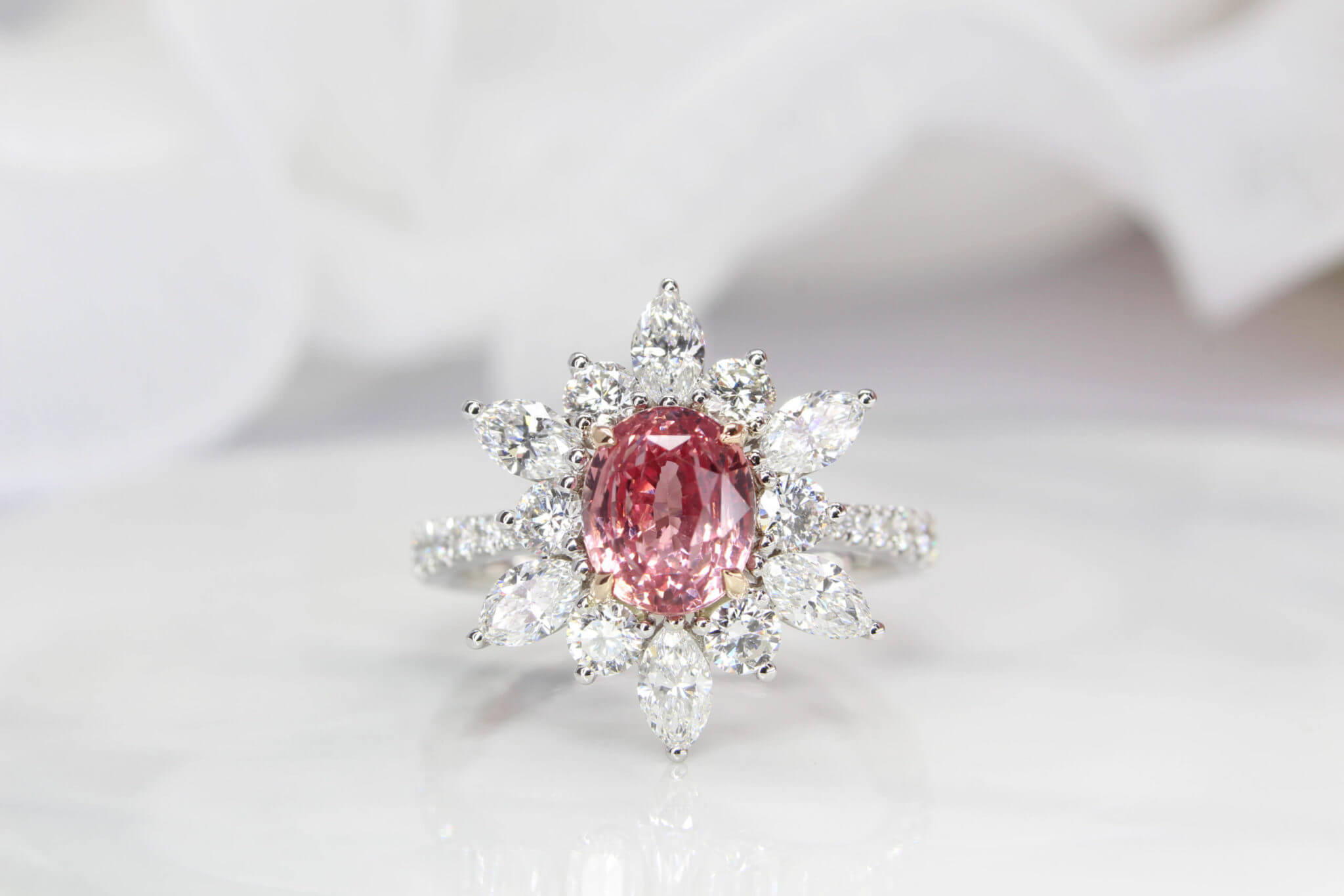 Sapphire Padparadscha Customised Ring with halo starburst diamond ring setting from round to pear diamond - Natural padparadscha sapphire unheated without treatment. Padparadscha sapphire is truly exceptional and it exhibits brilliance and beauty in every sense. Customised Sapphire Padparadscha Jewellery