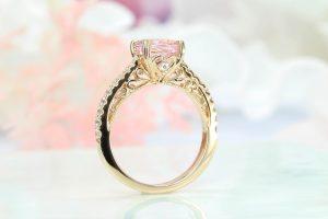 art deco milgrain vintage ring with morganite