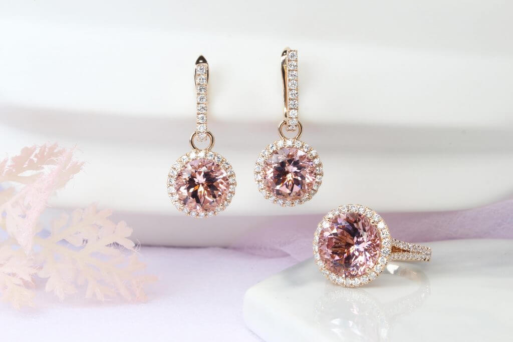 Morganite Jewellery set customised with halo diamond and rose gold, earring and ring jewellery