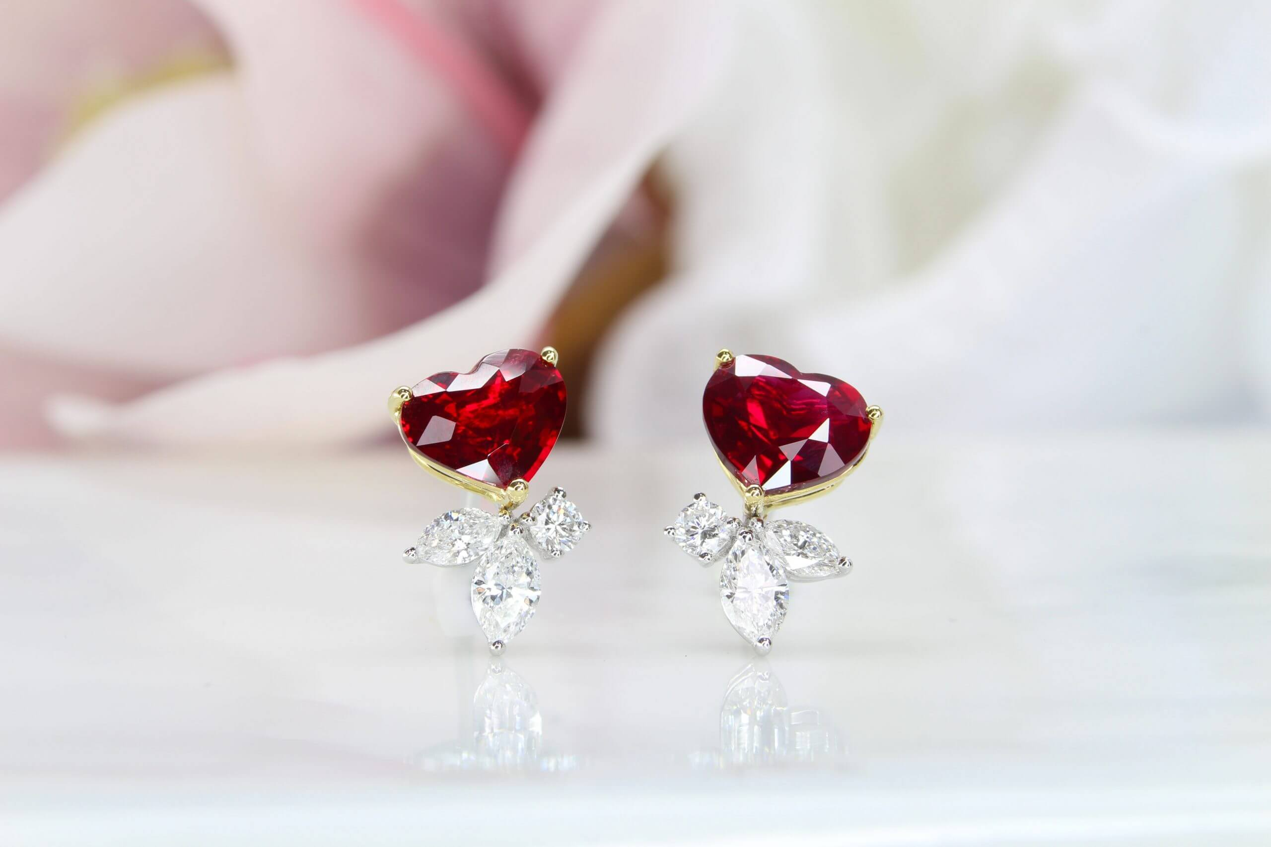 Ruby unheated Pigeon Blood Earring