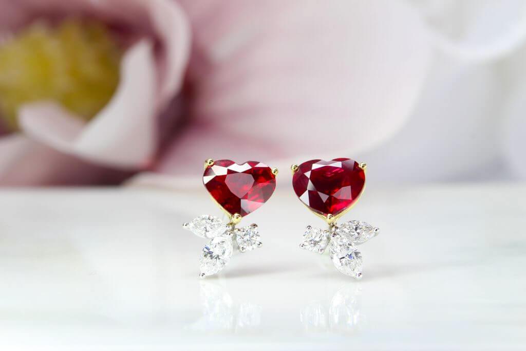 unheated Ruby Earring in Pair