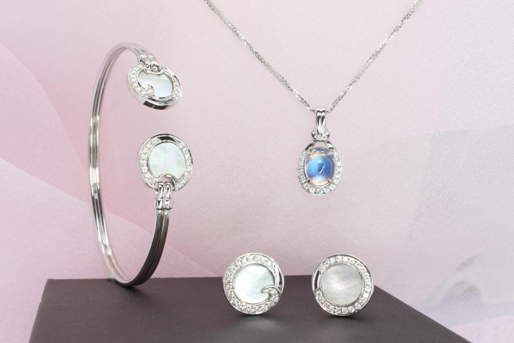 Wedding Jewellery customised for Sidianjin with mother of pearl and moonstone gemstone