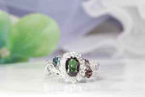 Alexandrite Flora Leaves with Halo Diamond Ring