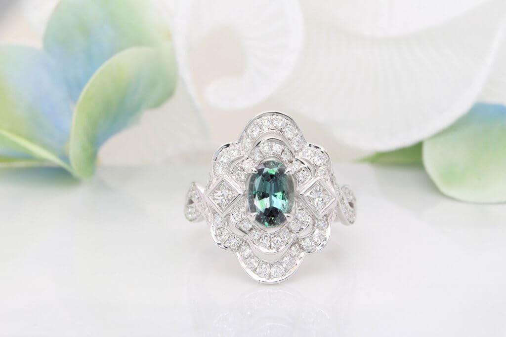 Alexandrite Colour Change Art Deco Ring