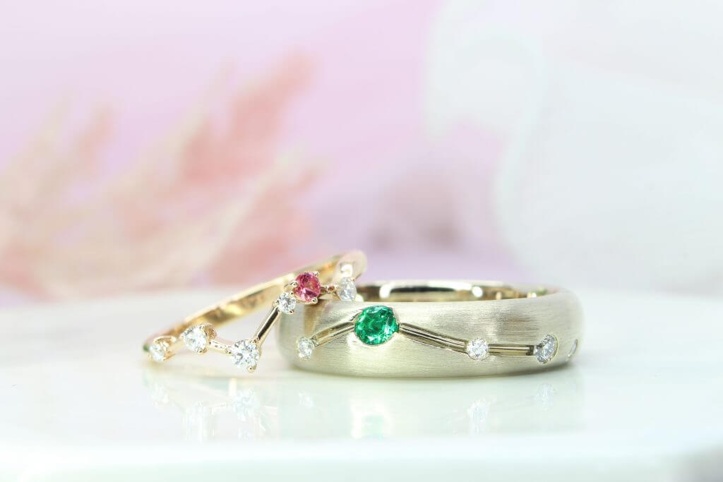 Constellation Wedding Rings stackable Constellation Wedding bands