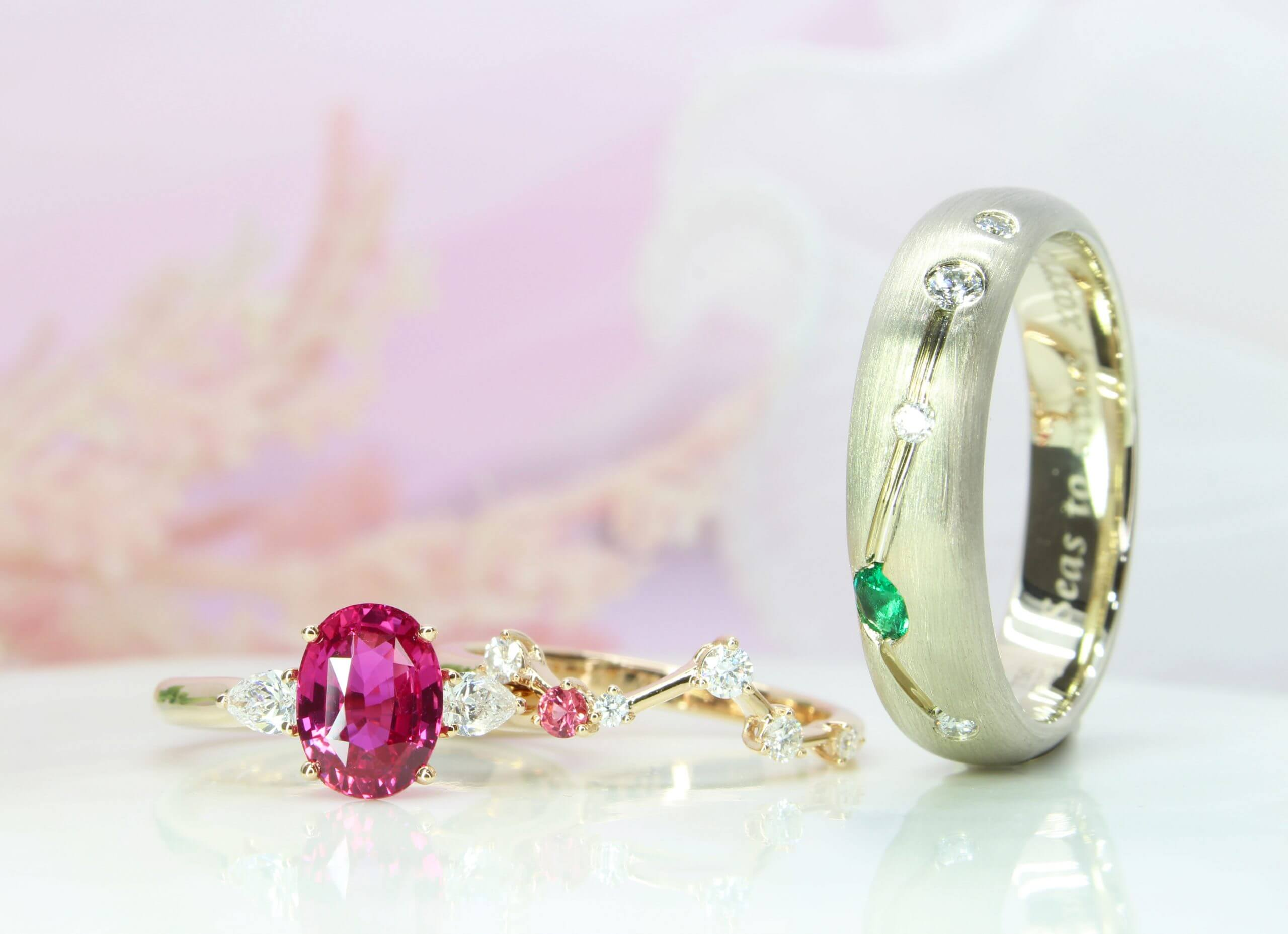 Pink Sapphire with Constellation Wedding Bands