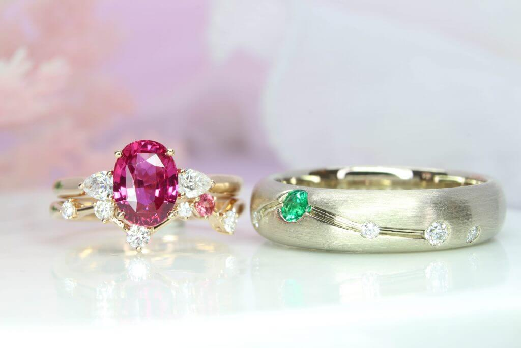 Constellation Wedding Bands stackable with Pink Sapphire Ring