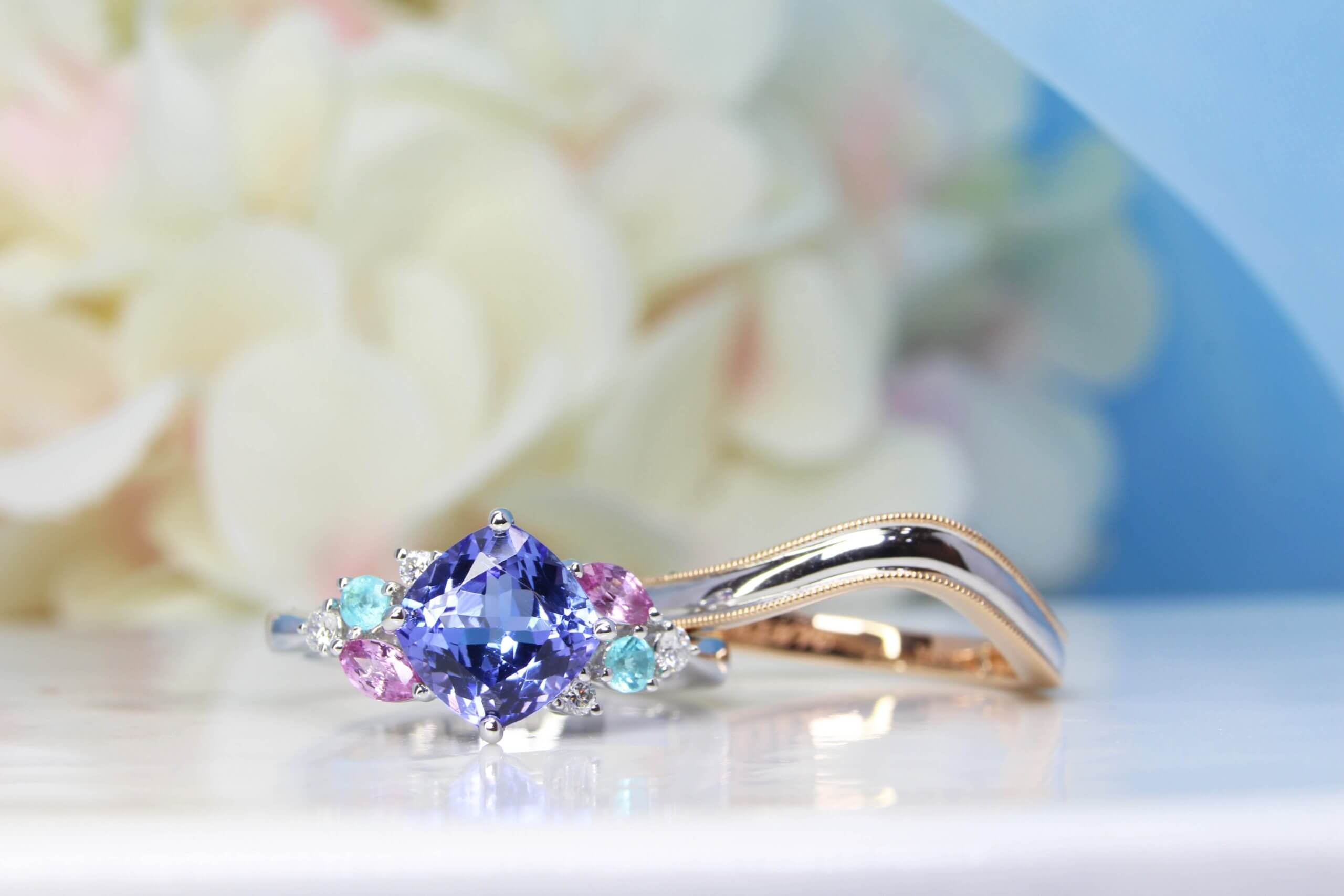 Tanzanite Cluster Ring with stackable wedding bands
