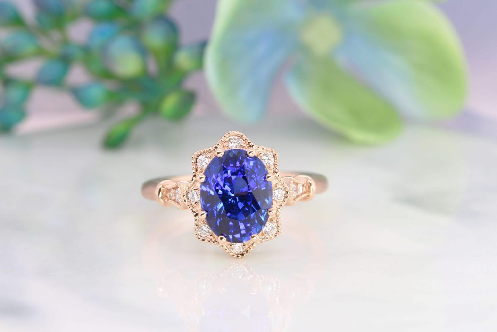 Blue Sapphire Vintage Floral Ring with Halo Diamond